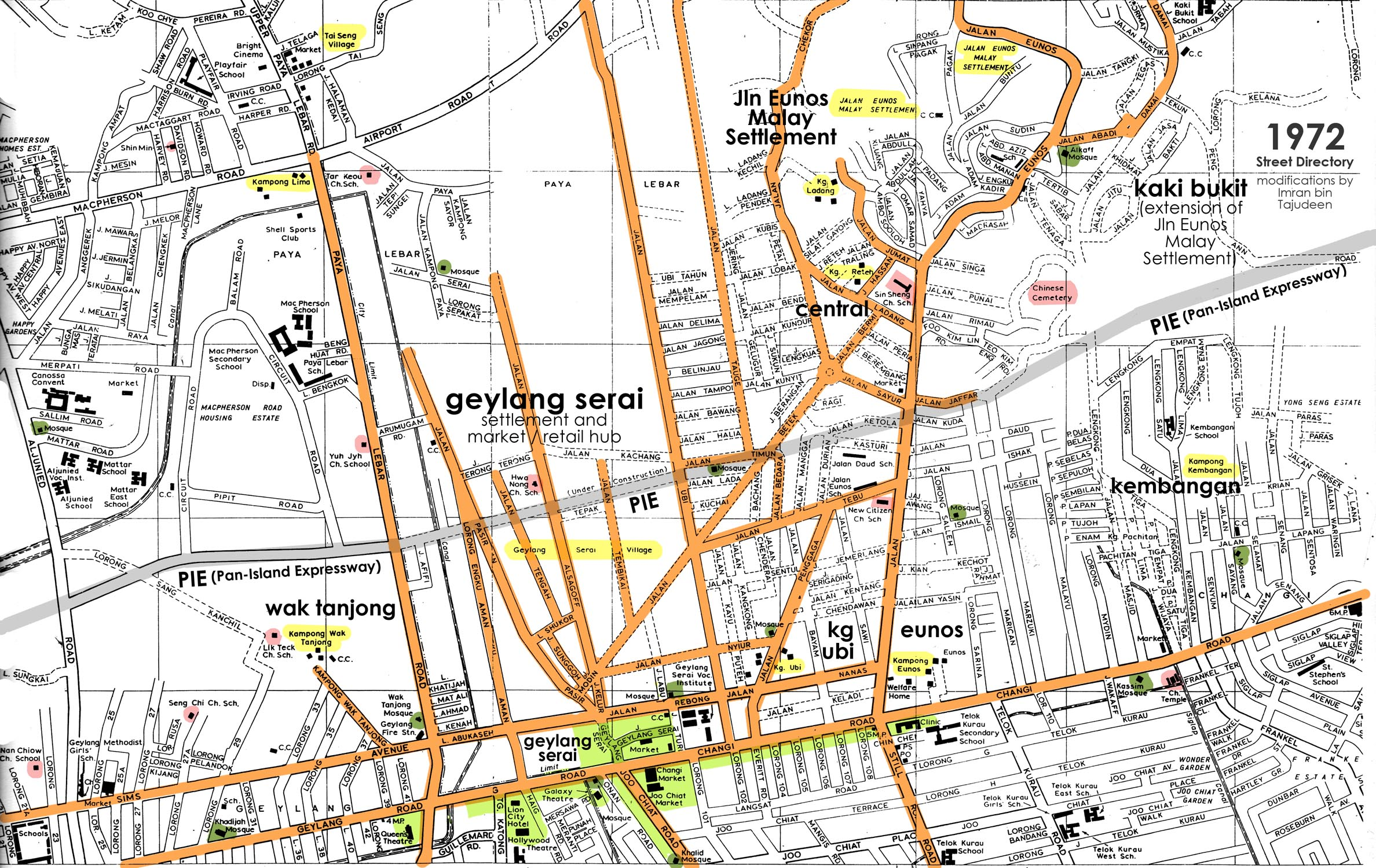 1972 Map showing the area around Geylang Serai, and the roads radiating out from Geylang Serai's commercial core to the surrounding suburbs:  Geylang Serai, KampungUbi, Jalan Eunos Malay Settlement, and Kaki Bukit. Source: Singapore Street Directory, with modifications by Imran bin Tajudeen.
