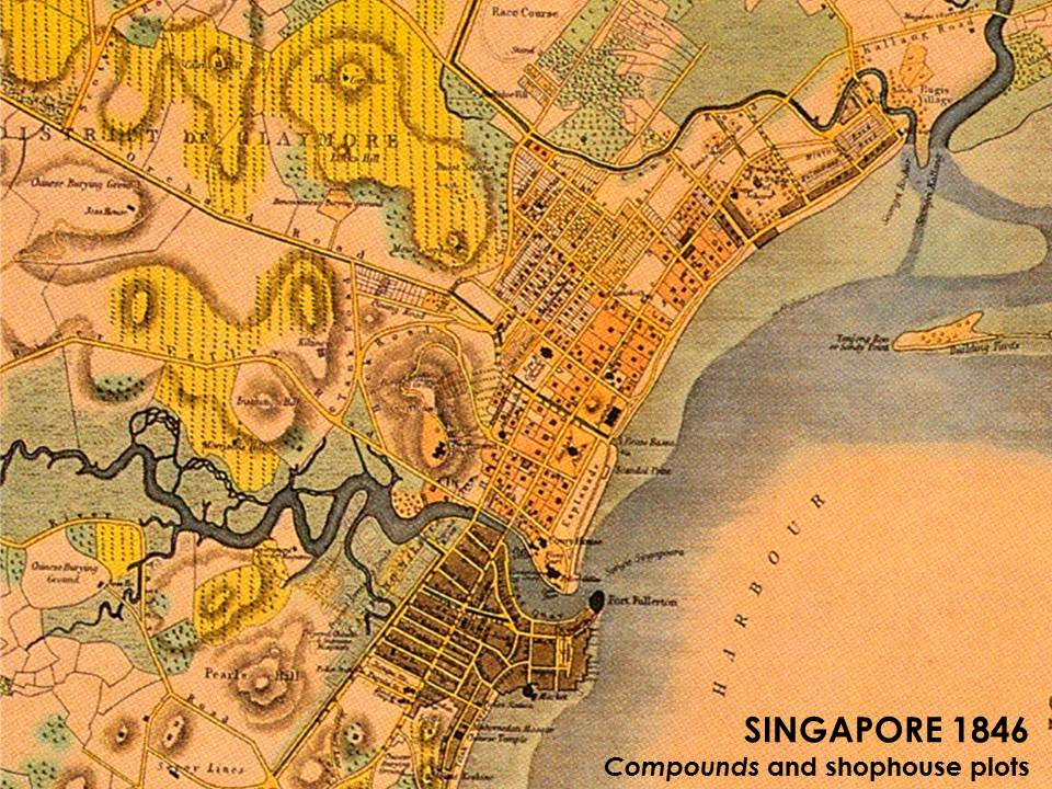 Asia Sea Map%0A Singapore u    s Town Plan of      by Lt Jackson  showing the structure of  Campongs as town  SingaporeJacksonMapsCards