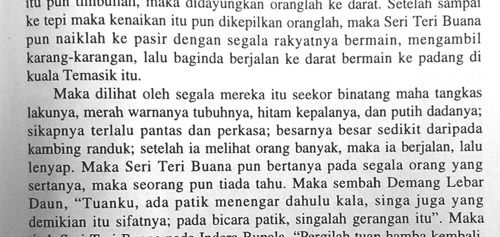 The passage concerning the actual sighting in the Sulalat us-Salatin (Sejarah Melayu)