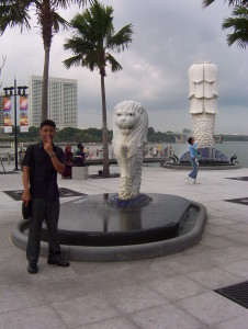 The Merlion Cub drooling. Photo taken in 2004.