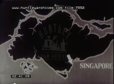 "One of the infographics presented in the documentary of unknown name (tagged ""Film 7552"", 1930s or 1940s) explaining Singapore's physical geography and city layout"