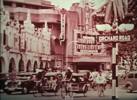 Orchard Road with Cathay building in the background, Singapore 1956