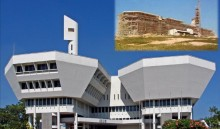 Jurong Town Hall - under construction in 1971 (inset) and today. It was the result of a competition in 1968, won by the architecture firm, Architects Team 3.