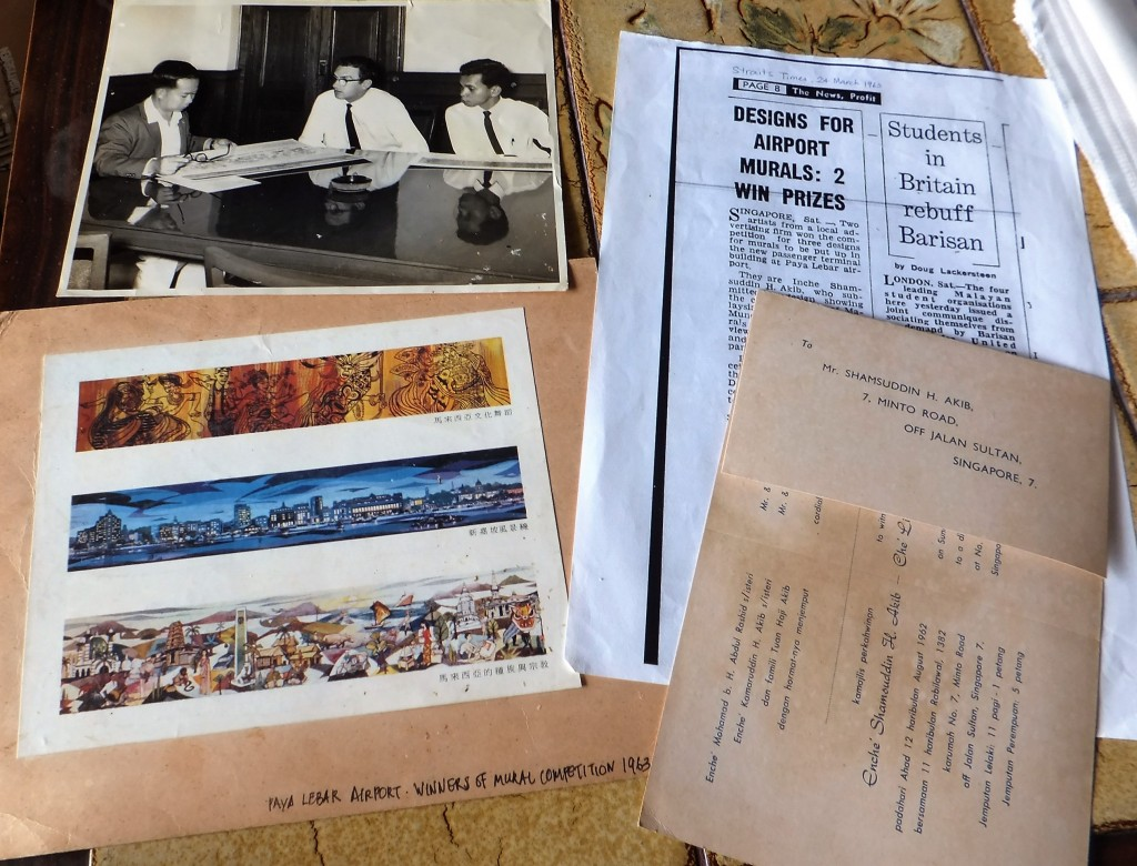 Some of the items kept by Shamsuddin H Akib, the artist behind one of the murals at Paya Lebar Airport commissioned in 1963.