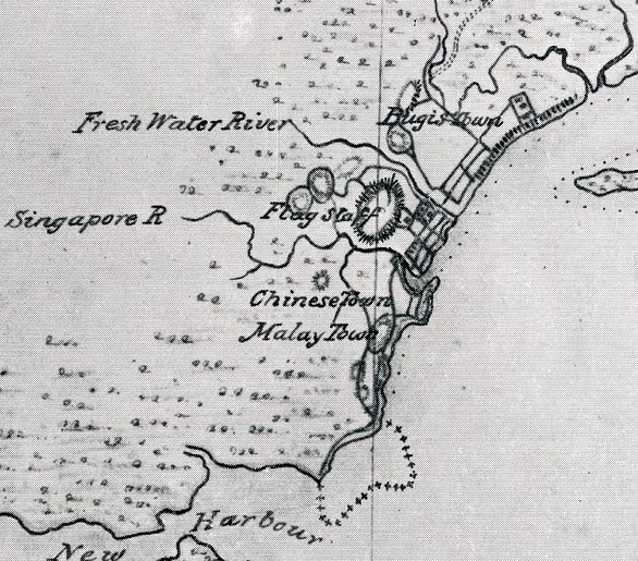 1822 Map of Singapore (detail), attributed to Capt. James Franklin, showing Bugis Town (around tyeh site of Bugis Junction and the National Library today), a Chnese Town, and a Malay Town to its south around Telok Ayer Street.