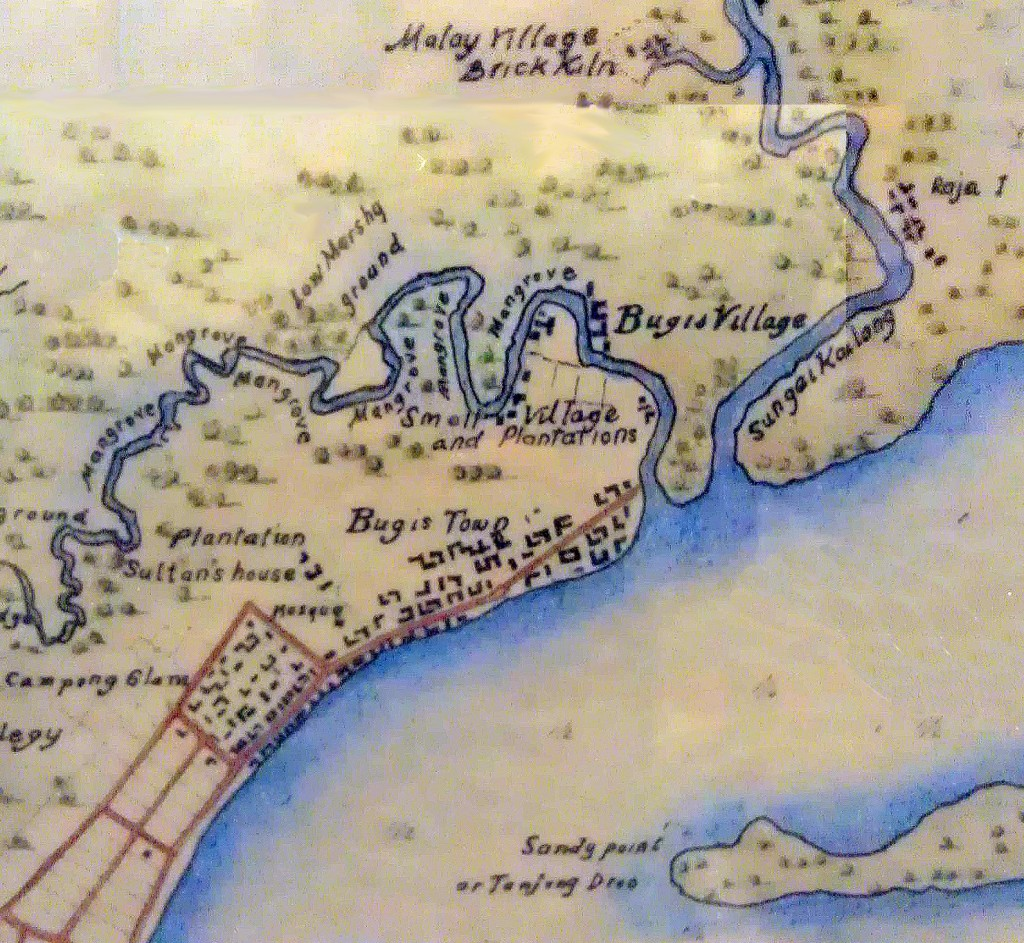 "1825 map of Singapore showing Bugis Town around the Istana and Sultan Mosque (Kampung Gelam Palace and town). The name ""Campong* Glam"" is indicated where Bugis Town was written in the 1822 map (above). *note: ""Campong"" is the Anglicised spelling for ""Kampung"" with which the term entered the English dictionary / language."